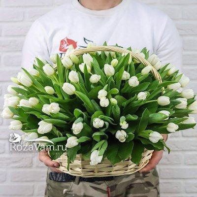 Корзина из 101 белого тюльпана
