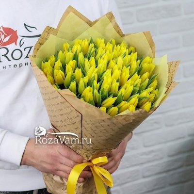 Букет из 101 желтого тюльпана