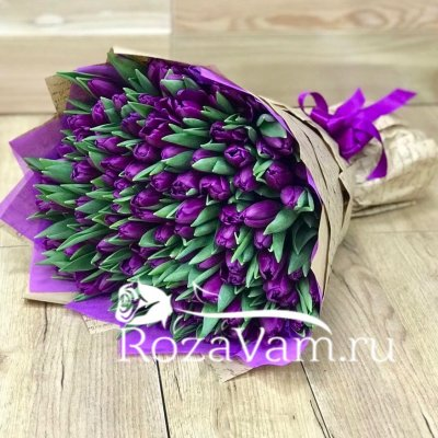 Букет  из 101 фиолетового тюльпана