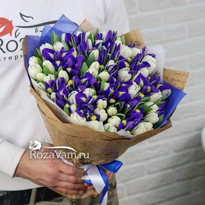 Букет из 50 тюльпанов c ирисами