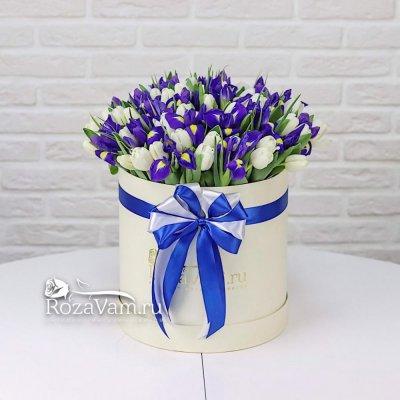 Коробка из тюльпанов с ирисами