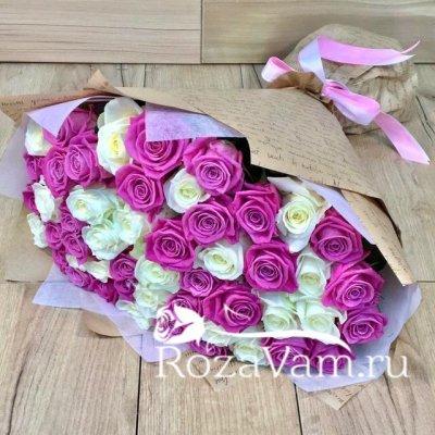 Букет микс из 51 розы (50 см)
