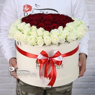 Сердце из 101 розы в коробке