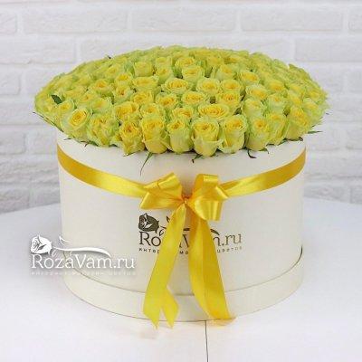 Коробка из 101 желтой розы