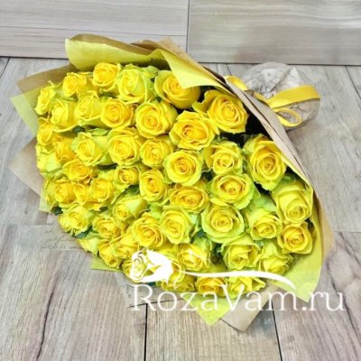 Букет из 51 жёлтой розы (50 см)