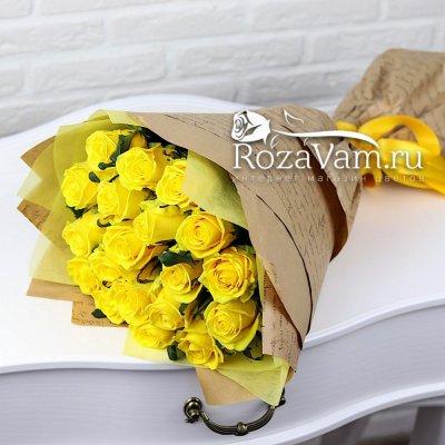 Букет из 19 жёлтых роз