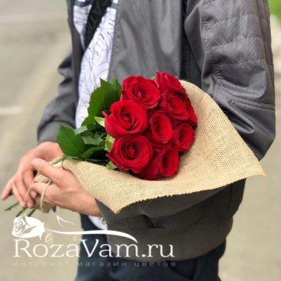 Букет из 9 красных роз ( 50 см )