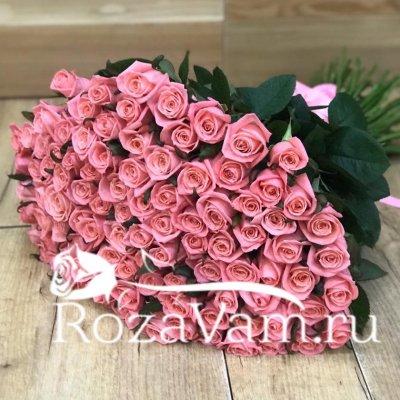 Букет из 101 коралловой розы (80 см)