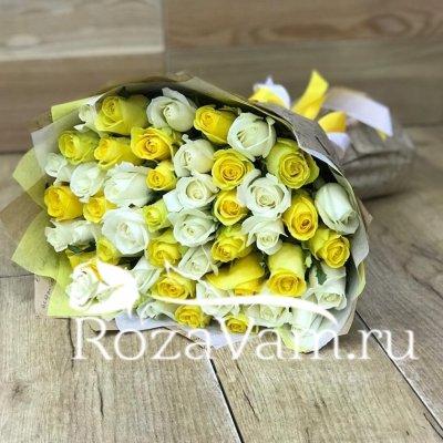 букет из 51 желто/белой розы (50см)
