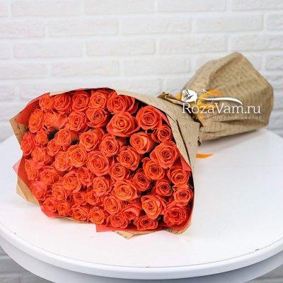 Букет из 51 оранжевой розы 50 см