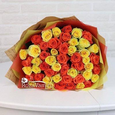 букет из 51 желтой/оранжевой розы