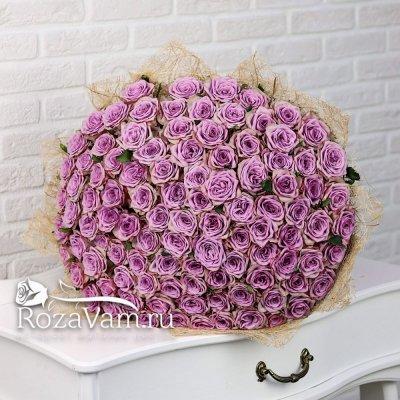 Букет из сиреневой розы 101 шт 50 см