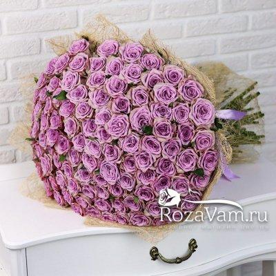 Букет из сиреневой розы 101 шт 70 см