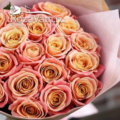 Букет из 19 персиковых роз (50 см)