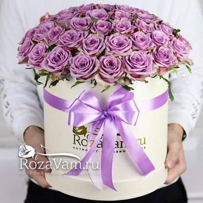 коробка из 51 сиреневой розы