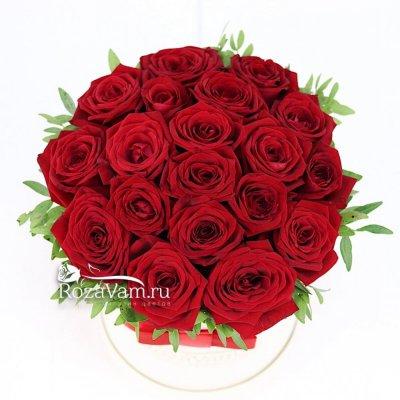 Коробка из 19 красных роз