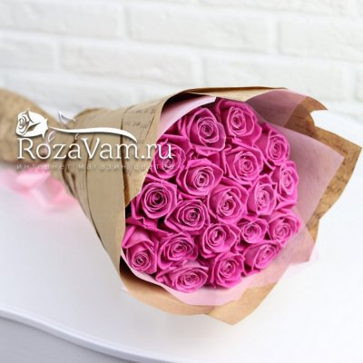 Букет из 19 розовых роз 60см