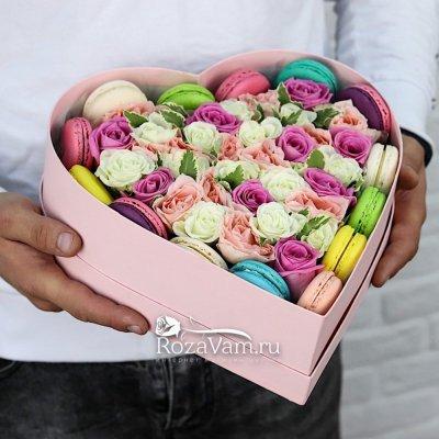 Макаруны с цветами сердце
