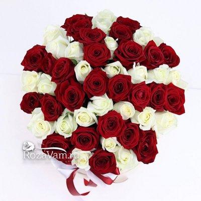 Коробка из 51 красно-белой розы