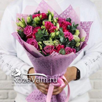 Букет микс  роз с эустомой