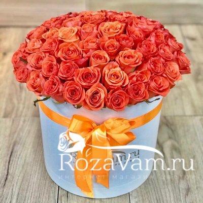 Коробка из 51 оранжевой розы