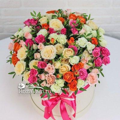 Коробка из 51 кустовой  микс розы