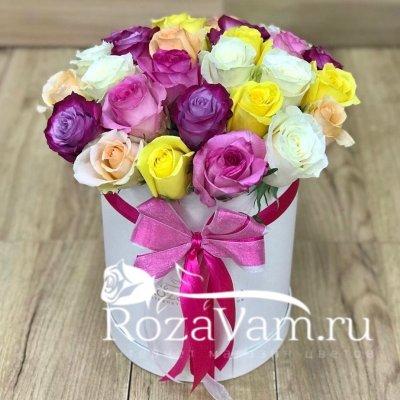 Коробка из 25 роз эквадор микс