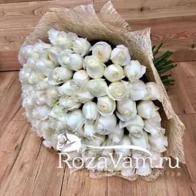 Букет из 101 белой  розы эквадор (70 см)