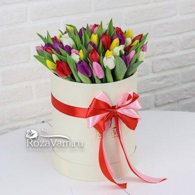 Коробка из 75 тюльпанов микс