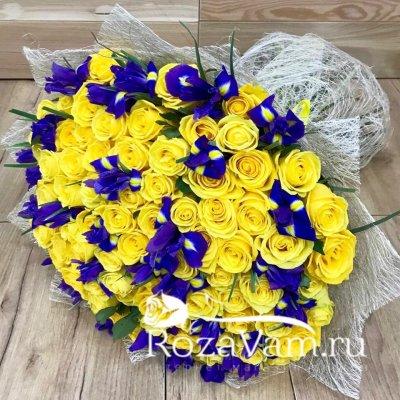 Букет из 101 желтой розы с ирисами