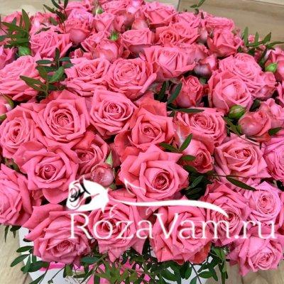 Кустовые розы в коробке 101 шт