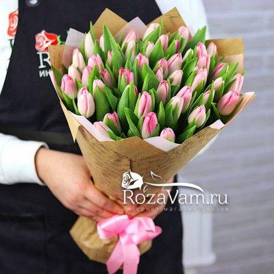 Букет из 49 розового  тюльпана