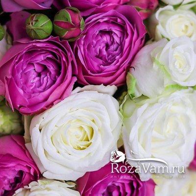 Кустовая пионовидная роза в букете 25 шт