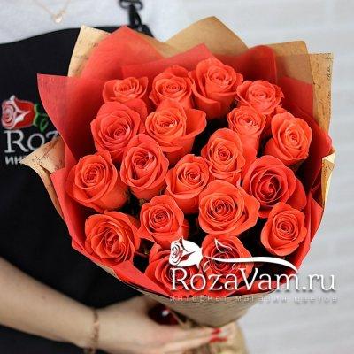 Букет из 19 оранжевых роз 70 см