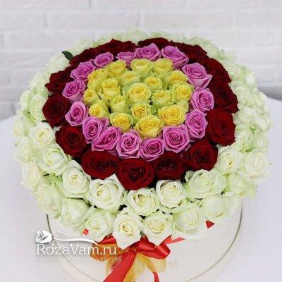 Коробка из 101 розы радуга