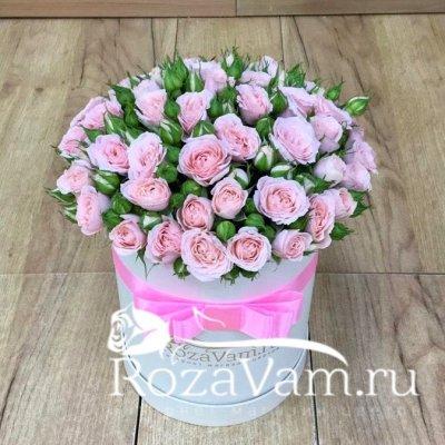 Коробка из нежно розовых роз