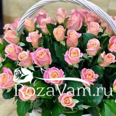 корзина из 51 прсиковой розы