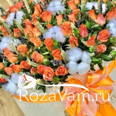 Коробка оранжевых роз с лавандой XXL