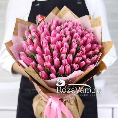 букет из 101 розового тюльпана