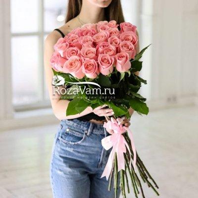 25 розовых роз Эквадор 70 см