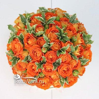 Коробка из  15 шт оранжевых пионовидных  роз