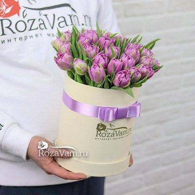 коробка из 35 пион тюльпанов