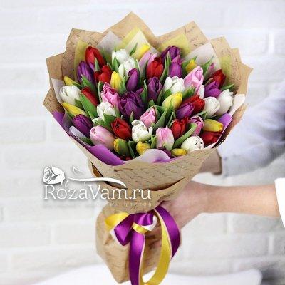 Букет из 51 тюльпана микс