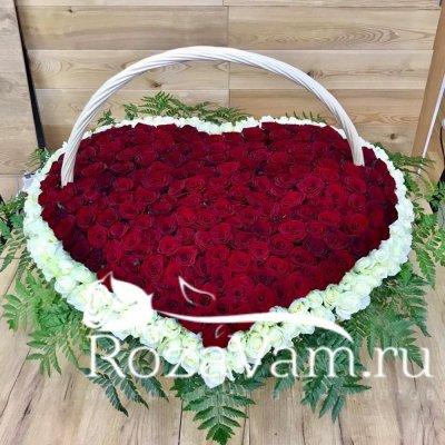 Корзина из 301 розы в виде сердца