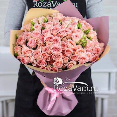 Букет из 25 веточек кустовых роз 50 см