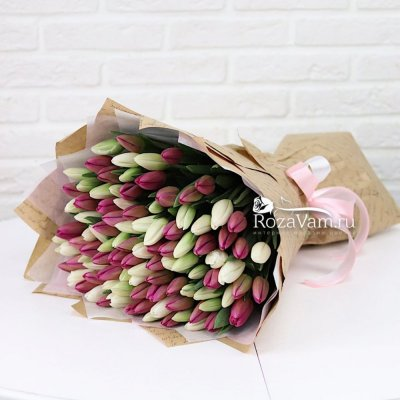Букет из 101 тюльпана микс