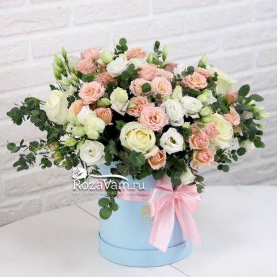 Коробка микс  роз и эустомы
