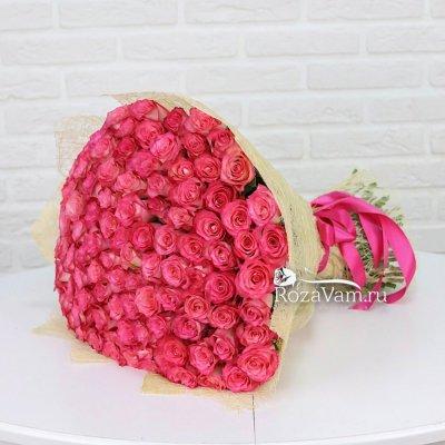 Букет из 101 розовой розы 50см