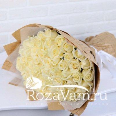 Букет из 51 белой розы (50 см)