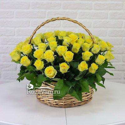 Корзина из 51 желтой розы
